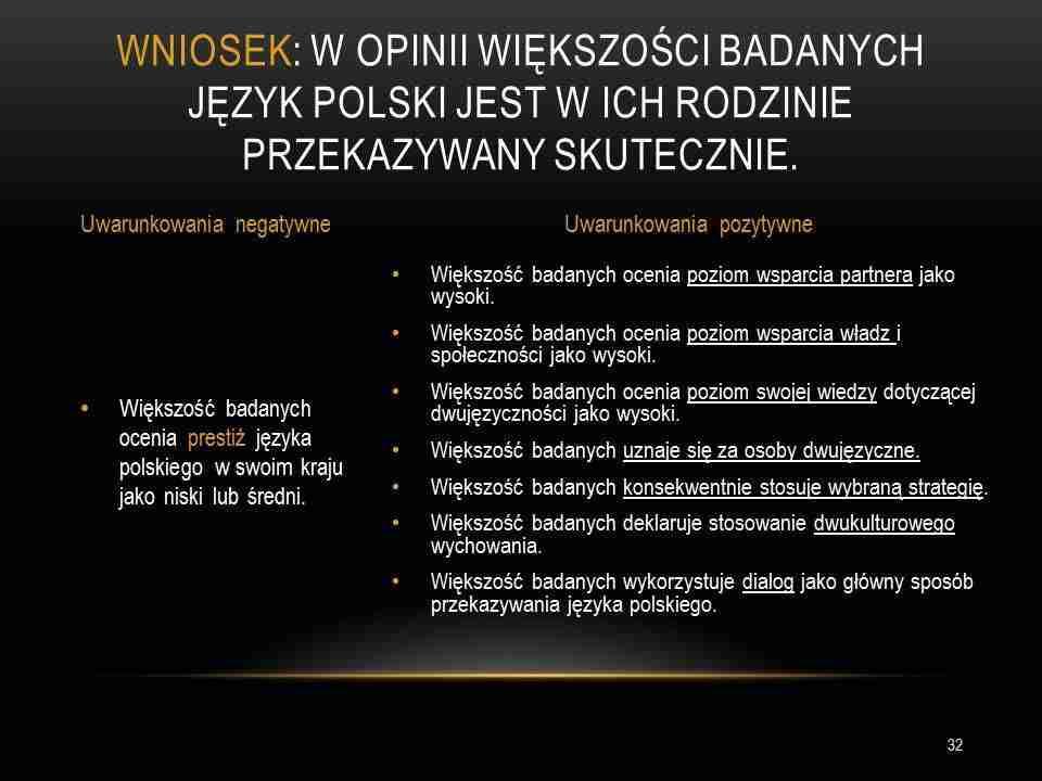 Skutecznie przekazać język polski Charakterystyka polonijnych rodzin dwujęzycznych wniosek